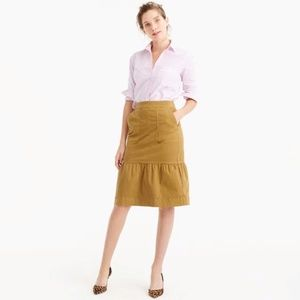 J. Crew Garment-Dyed Chino Ruffle Skirt